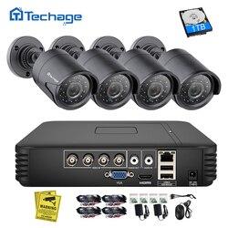 Techage 4CH 1080N AHD DVR CCTV System bezpieczeństwa 1080 P 2.0MP IR Night Vision kryty odkryty kamera nadzoru wideo zestaw zestaw do samodzielnego montażu w Systemy nadzoru od Bezpieczeństwo i ochrona na