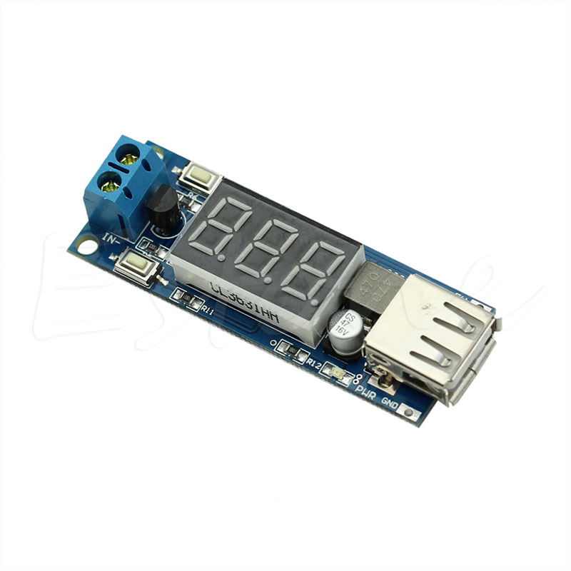 4.5-40V 2in1 DC To 5V 2A USB Charger DC-DC Step-down Converter Voltmeter Module -Y103