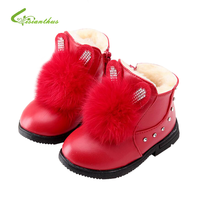 Zapatos de la Nieve de Invierno de Cuero suave de los Bebés Zapatos Infantiles Primeros Caminante de Cuero Resbalón-Prueba de Niños Lindo Conejo de Goma Caliente zapatos