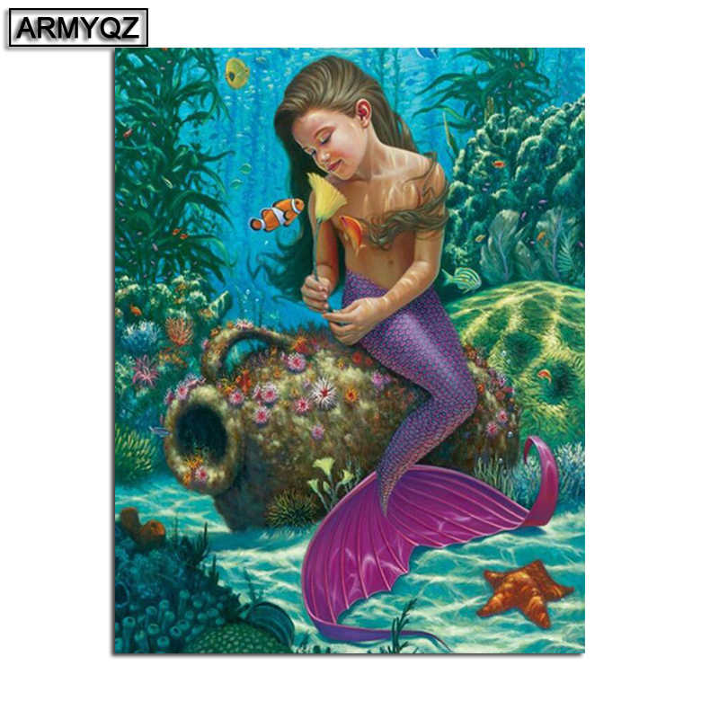 Treasure on the mermaid 5D DIY Full Square Diamond Painting New 2019 Cross stitch embroidery Mosaic Home Decoration