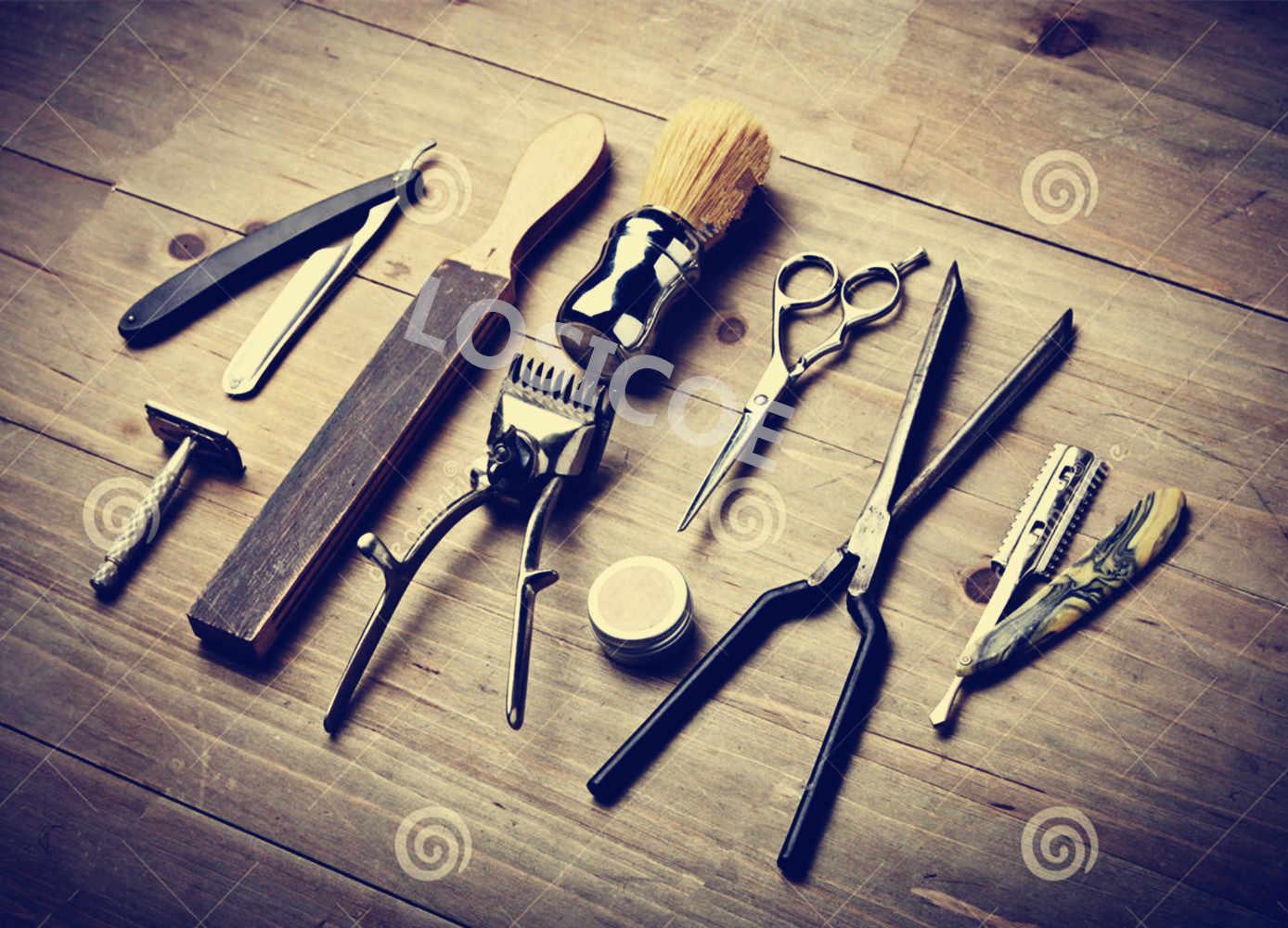 ヴィンテージ美容師入れ墨理髪ツール復元ポスタークラフト紙インテリア絵画壁ステッカー理髪店家の装飾