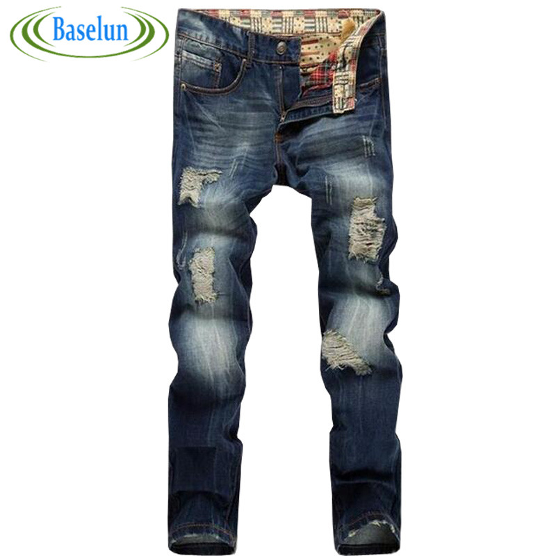 ФОТО High quality men's jeans hole Casual ripped jeans men hiphop pants Straight jeans for men denim trousers jeans men
