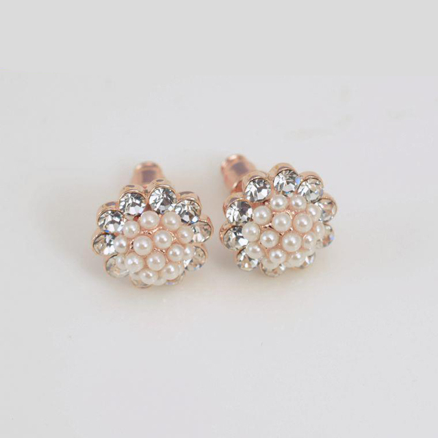 Crystal Pearl Earrings Temperament Korean Fashion Female