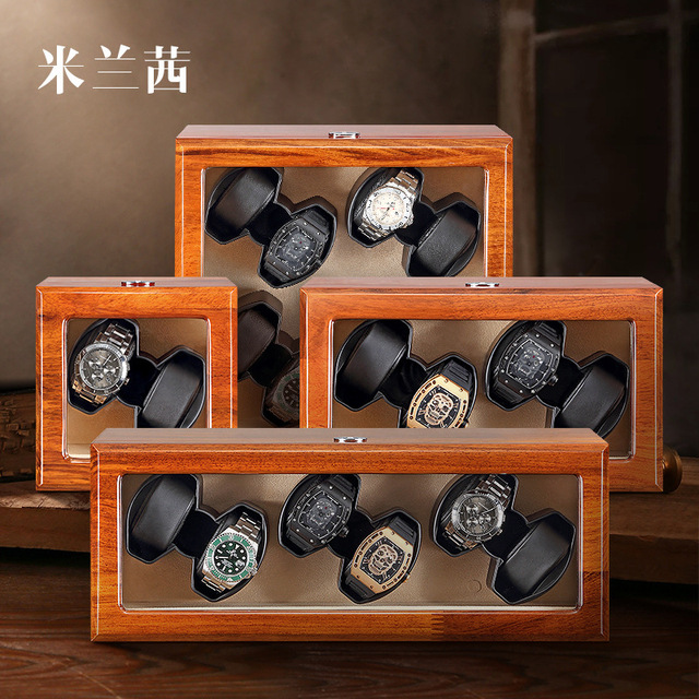 Relojes de marca famosa, reloj oficial de madera maciza, bobinadora de reloj de lujo de palisandro, caja de reloj mecánico de sándalo