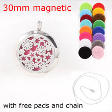 Fashion Flowers With Stars Essential Oils Diffuser Locket Pendant Stainless Steel Perfume