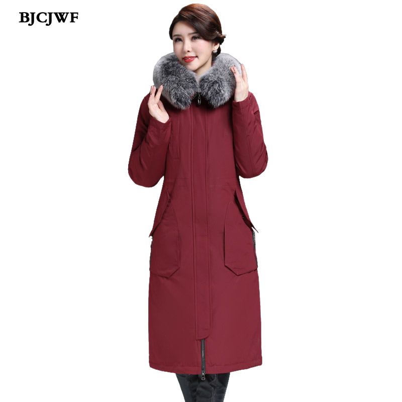 BJCJWF Winter Warm 90% White Duck Down Jacket Women Long Down Coat Padded Female Luxury Fur Collar Hooded Parkas doudoune femme