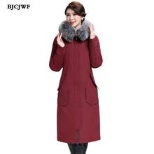 цены BJCJWF Winter Warm 90% White Duck Down Jacket Women Long Down Coat Padded Female Luxury Fur Collar Hooded Parkas doudoune femme