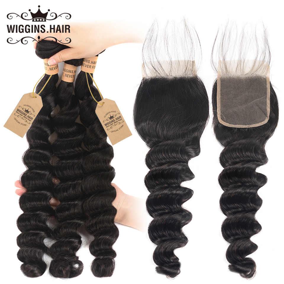 Wiggins волосы Свободные глубокие волнистые пучки с закрытием перуанские человеческие волосы 3 пучка с закрытием бесплатно Средний три части remy Волосы