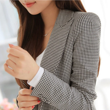 01a453c4a37 HanOrange 2018 New Spring Autumn Slim Houndstooth Plaid Long Blazer for Women  Jacket Black White Jacket XXXL Plus Size-in Blazers from Women s Clothing  on ...