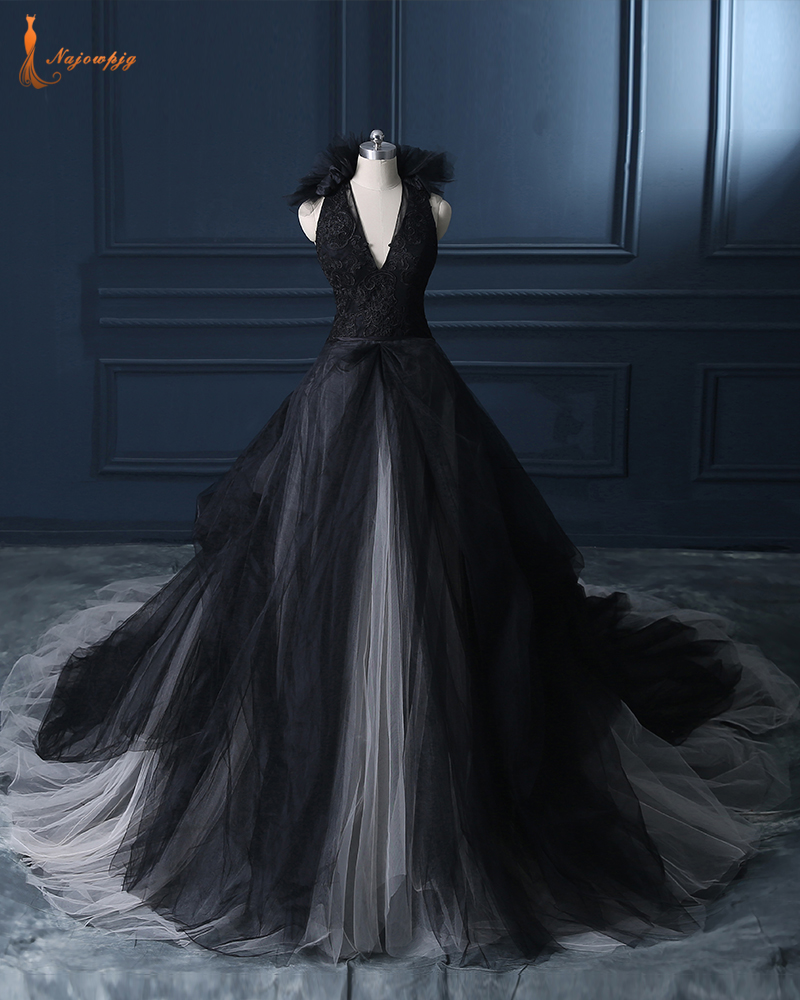 najowpjg custom made robe de mariee sexy deep v neck backless appliques flower black gothic wedding dresses real picture 2017
