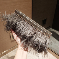 Luxury Real Ostrich Feathers Handbag Evening Bags Women's Pouch Purse Famous Brand dinner party Diamond Clutch bag For Ladies