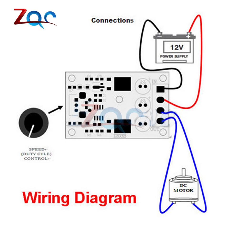 Dc 6v 12v 24v 28vdc 3a 80w Pwm Motor Speed Controller Regulator Variable Sd Control Wiring Diagram Adjustable With Potentiometer Switch In From Home