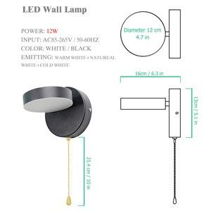 Image 5 - Nordeic LED โคมไฟ 3 สีพร้อมสวิทช์ผนัง 12W สีขาวสีดำในร่มโมเดิร์นสำหรับ Home บันไดห้องนอนข้างเตียง