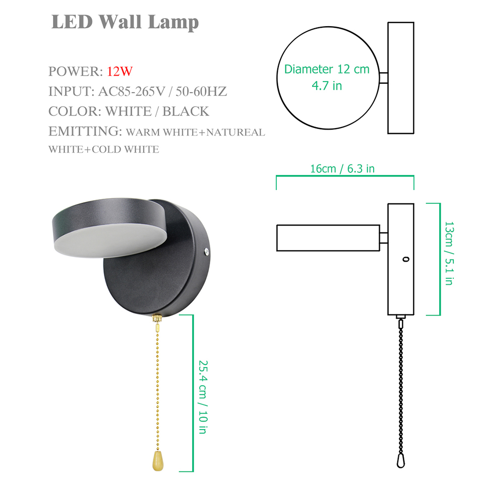 Image 5 - Nordeic Led wall lamp 3 color lighting with switch wall light 12W White Black Indoor Modern for home Stairway Bedroom BedsideLED Indoor Wall Lamps   -