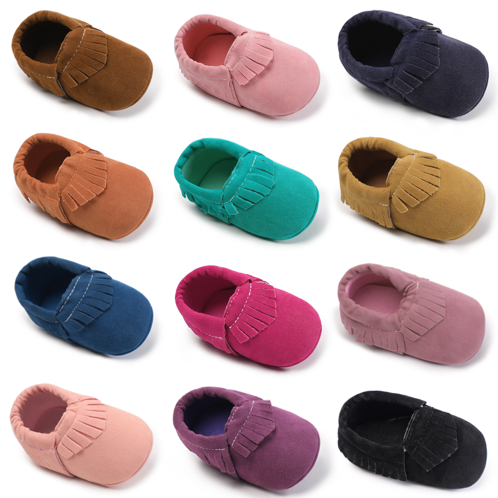 Infant Shoes Baby Girls Soft Bottom Suede Leather Moccasins Soft Moccs Anti-Slip Newborn Booties First Walkers 0-18 Months