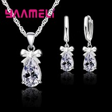 925 prata esterlina feminino gota de água cristal austríaco pingentes colar brincos conjunto jóias para o casamento presente noivado