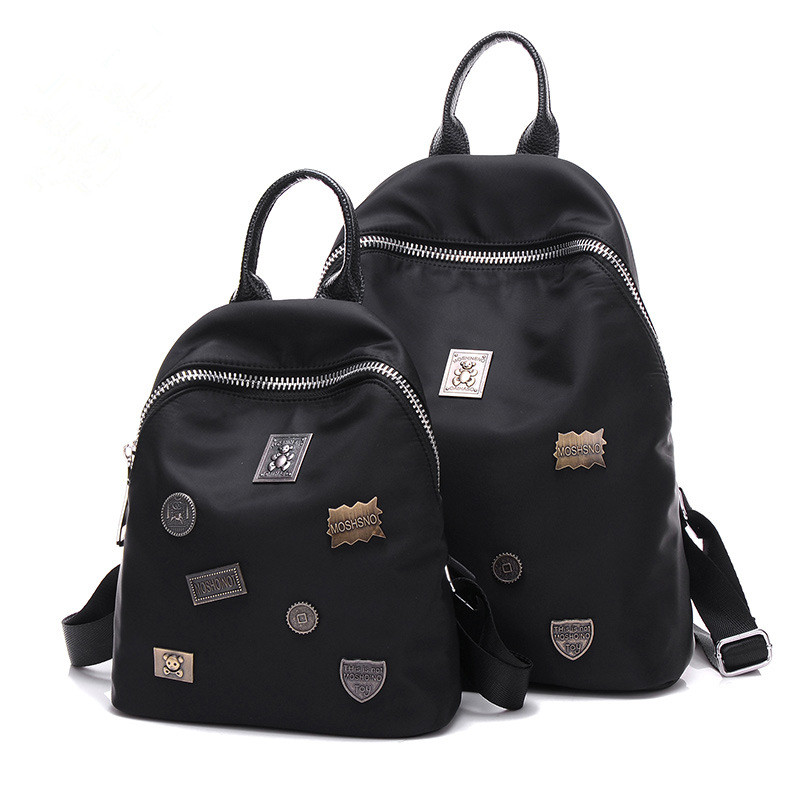 Women Oxford Backpacks Travel leisure should bags waterproof Nylon Satchel lady black sac bandouliere rivet mochila