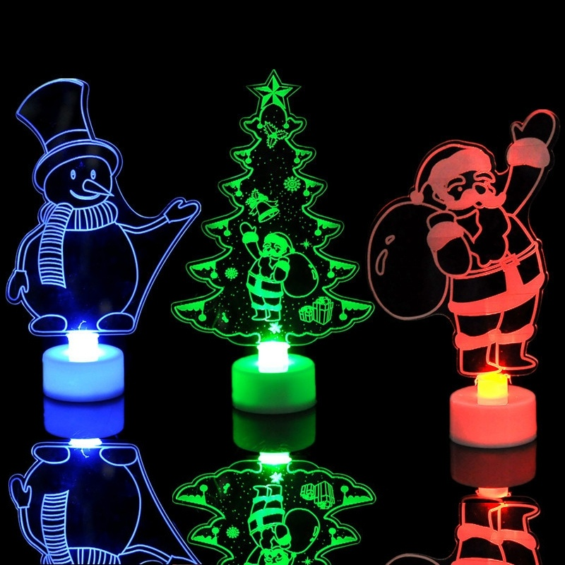 2019 Colorful Little Christmas Tree Christmas Snowman Santa Claus Night Lights Gifts And Christmas Decorations