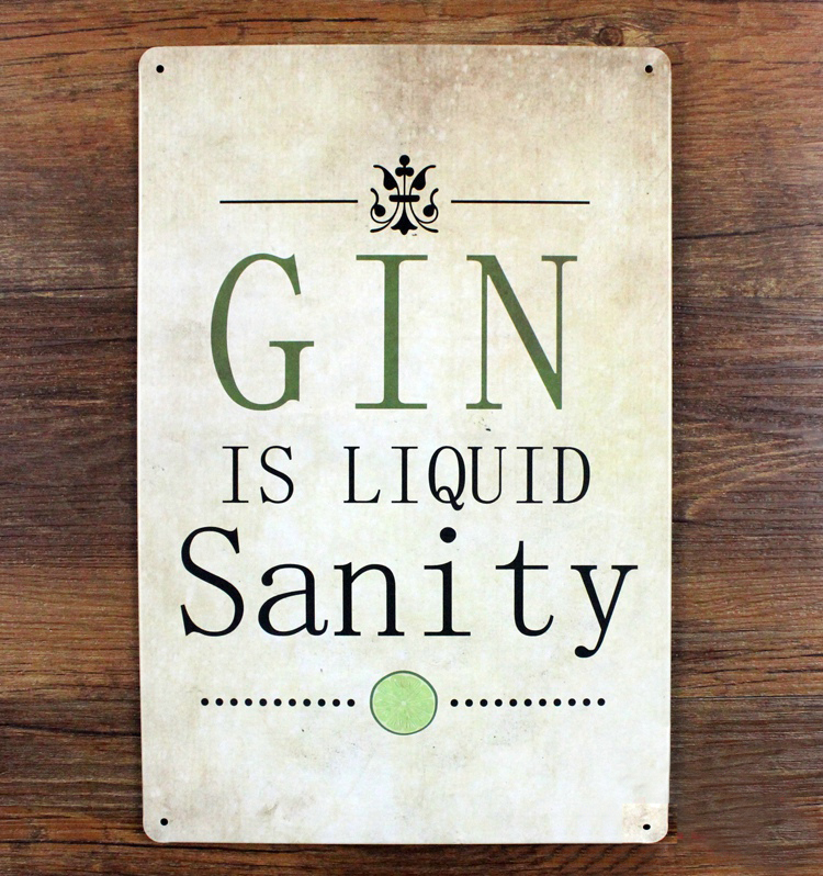 free ship retro plaque gin sanity decorative metal painting tin sign vintage iron crafts. Black Bedroom Furniture Sets. Home Design Ideas