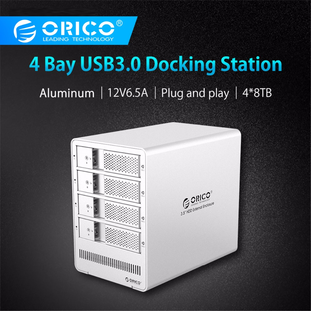 ORICO 4 Bay 3.5 Inch HDD Enclosure Tool Free USB 3.0 To SATA Support 4 X 8TB 4-bay HDD Docking Station Case For Laptop PC