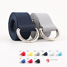 HUOBAO Metal Buckle Double D Rings Belt For Mens Jeans all-match Brief Solid Color Long Womens Nylon Canvas