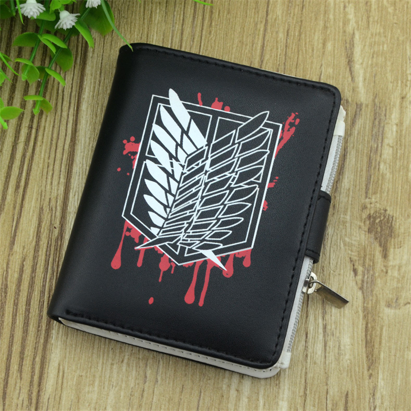 boy Attack on Titan cartoon wallet Casual anime men wallets Fairy Tail and Conan dollor price card holder with cion pocket anime fairy tail wallet cosplay school students money bag children card holder case portefeuille homme purse wallets