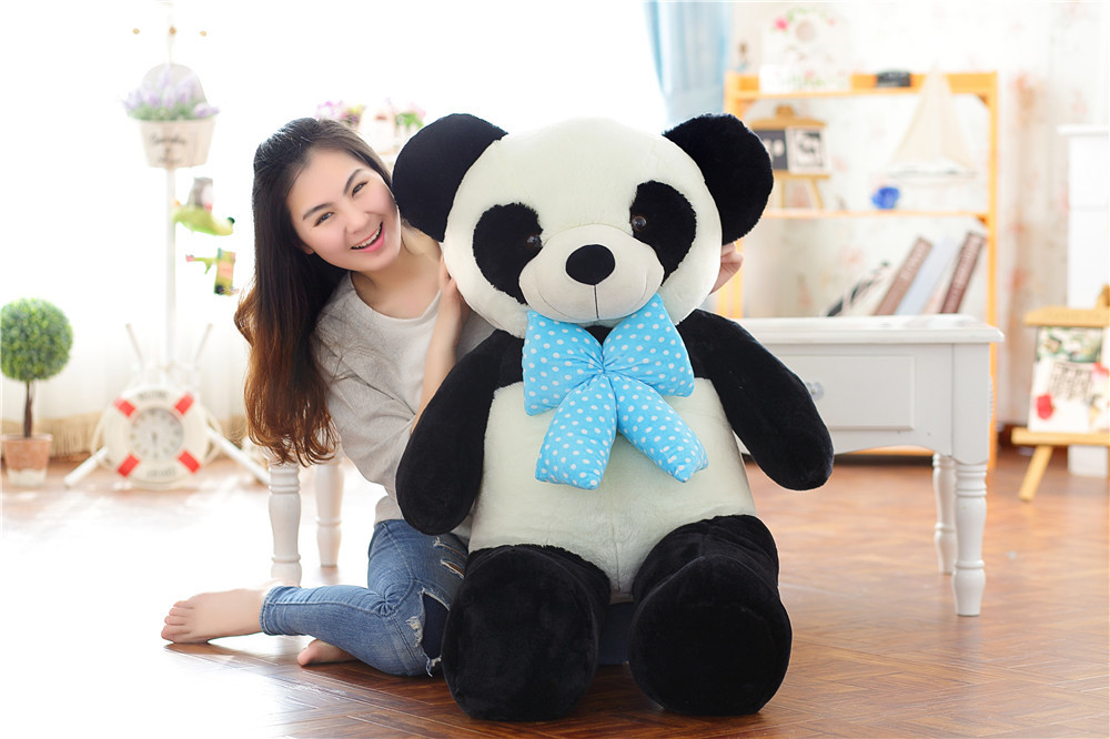 stuffed plush toy huge 120cm bowtie panda plush toy soft hugging pillow Christmas gift b0499 lovely giant panda about 70cm plush toy t shirt dress panda doll soft throw pillow christmas birthday gift x023