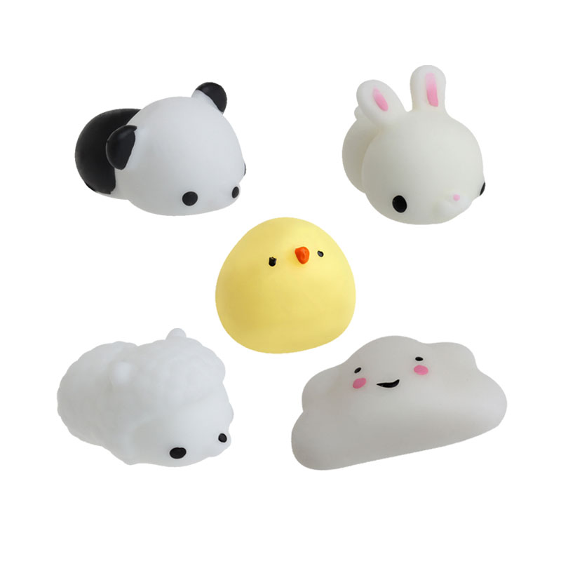 1PC Cute Animal Squeeze Healing Toy Cartoon Rabbit Sheep Chicken Cloud Penda Kawaii Collection Stress Reliever Soft Silicone