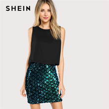 SHEIN Multicolor Party Contrast Sequin Split Two Tone Sparkle Combo Skinny  Dress Summer Highstreet Modern Lady