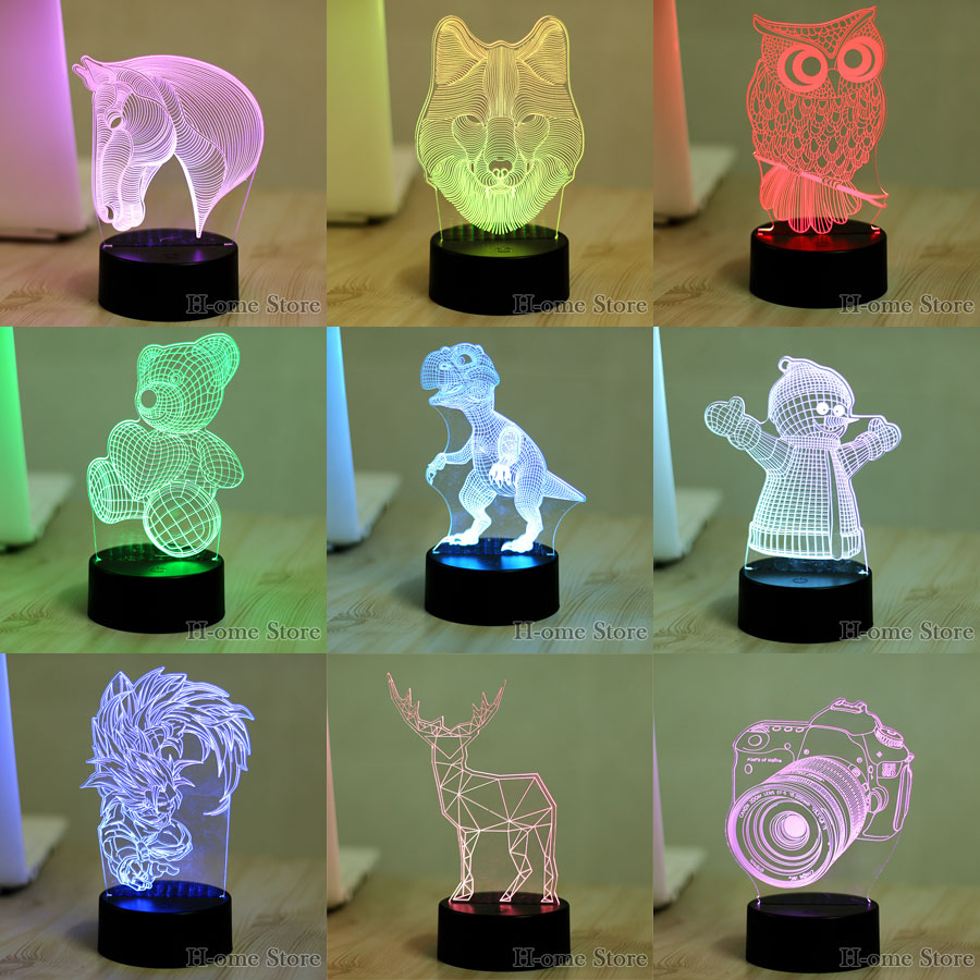 Lava lamp visualizer - 7 Color Lamp 3d Visual Led Night Lights For Kids Robot Wolf Deer Horse Touch Usb