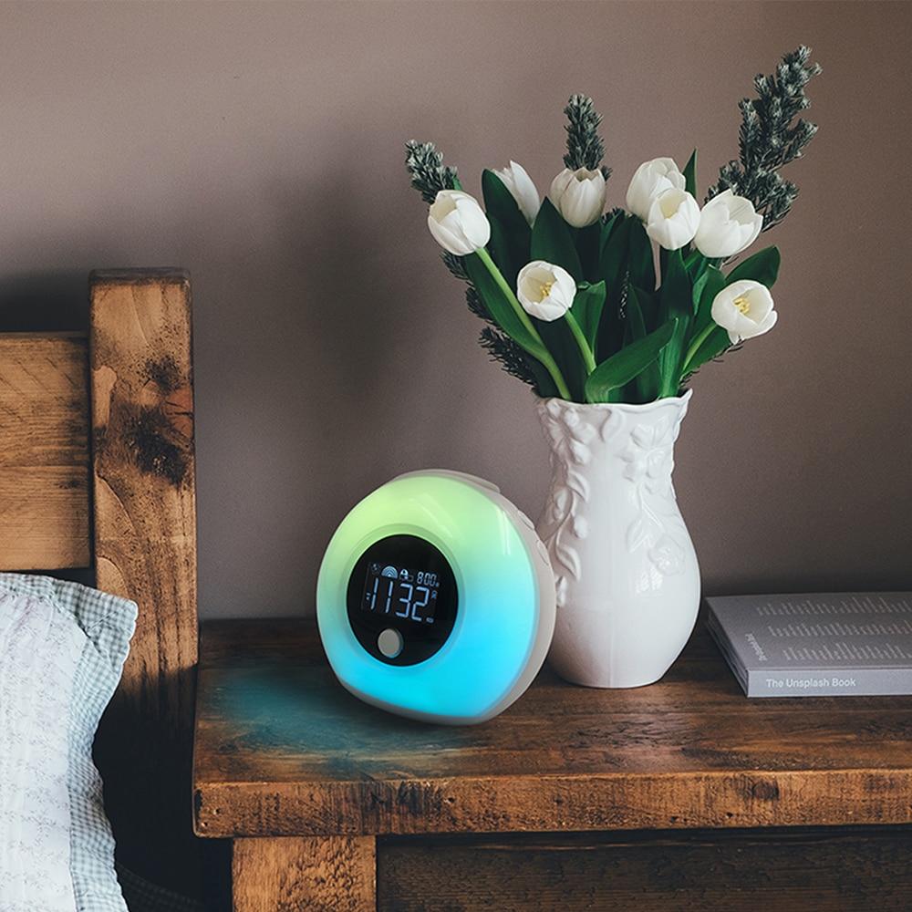 Réveil LED numérique intelligent tactile lumière USB couleur BT haut-parleur veilleuse LCD horloge réglable réveil Musical sommeil lampe