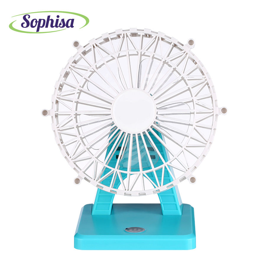 Sophisa wheel shape handheld mini fan usb portable fan desk rechargeable air conditioner ...