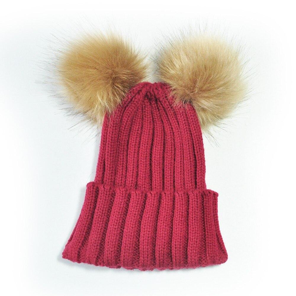 f4a65d49 Children Winter Hat Casual Faux Fur Double Balls Kids Toddler Warm Beanies  Cute Unisex Wool Knitting Hat Cap Cool Skullies Decc2-in Skullies & Beanies  from ...