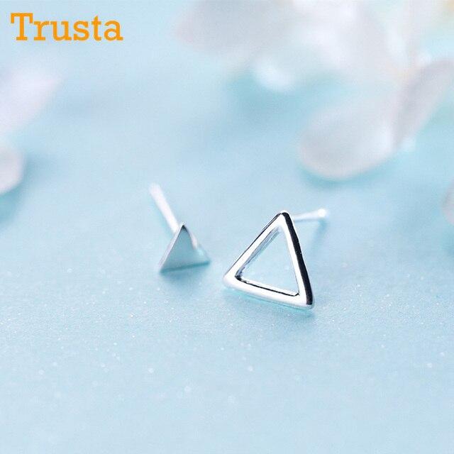 f8daa1f32 Trusta 100% 925 Sterling Silver Women Jewelry Fashion Tiny Asymmetric  Hollow Triangle Stud Earrings For