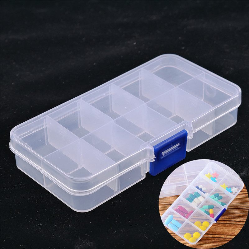 1Pcs 10 Compartments Clear Plastic Storage Box Jewelry Bead Screw Organizer Container Free Shipping