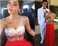 Red Chiffon Long Homecoming Dresses 2017 Vetsidos de Festa Longo One Shoulder Crystal Backless Party Gowns 8th Grade Prom Dress
