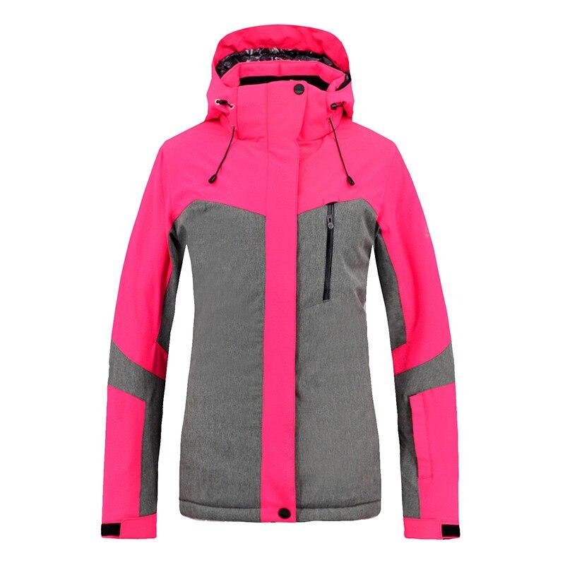 Nouveau Ski costume hiver femmes coupe-vent imperméable à l'eau chaud épais coton randonnée Snowboard veste Rose rouge S-XXL
