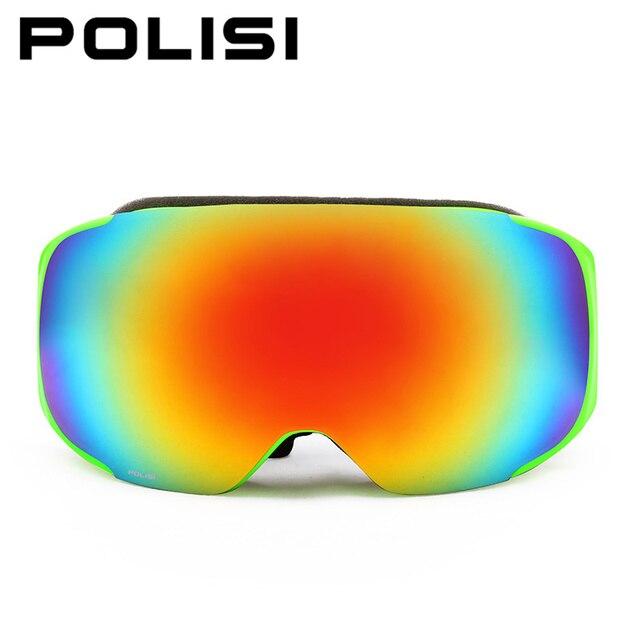 909c918d760c POLISI Winter Skiing Snowboard Eyewear Replaceable 2 Lenses Anti-Fog  Goggles Men Women UV400 Snowmobile Ski Skate Snow Glasses