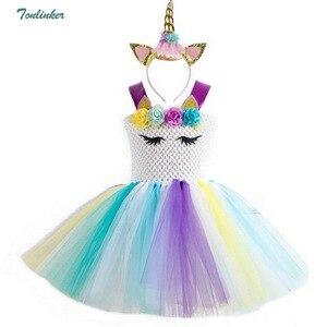 Image 5 - Arcobaleno Unicorn Costumi Pony Vestito Dal Tutu con la Fascia Dei Capelli Delle Ragazze Della Principessa Del Vestito Da Partito Dei Capretti Dei Bambini di Halloween Unicorn Costume 2 10Y