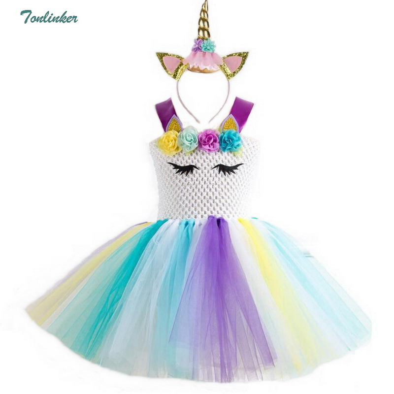 Image 5 - Rainbow Unicorn Costumes Pony Tutu Dress with Hair Band Princess Girls Party Dress Children Kids Halloween Unicorn Costume 2 10Y-in Girls Costumes from Novelty & Special Use