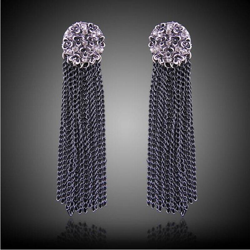 2018 Baru Fashion Wanita Perhiasan Panjang Rantai Hitam Flower Drop  Earrings Putaran Anting Hadiah Untuk Wanita Telinga Drop 66E1237  TasselDangle 73fa64a0a4