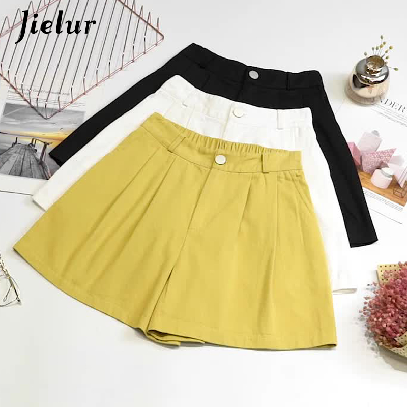 Jielur Shorts Women Wide-Leg High-Waist Ladies New Solid Pockets Button 3-Colors