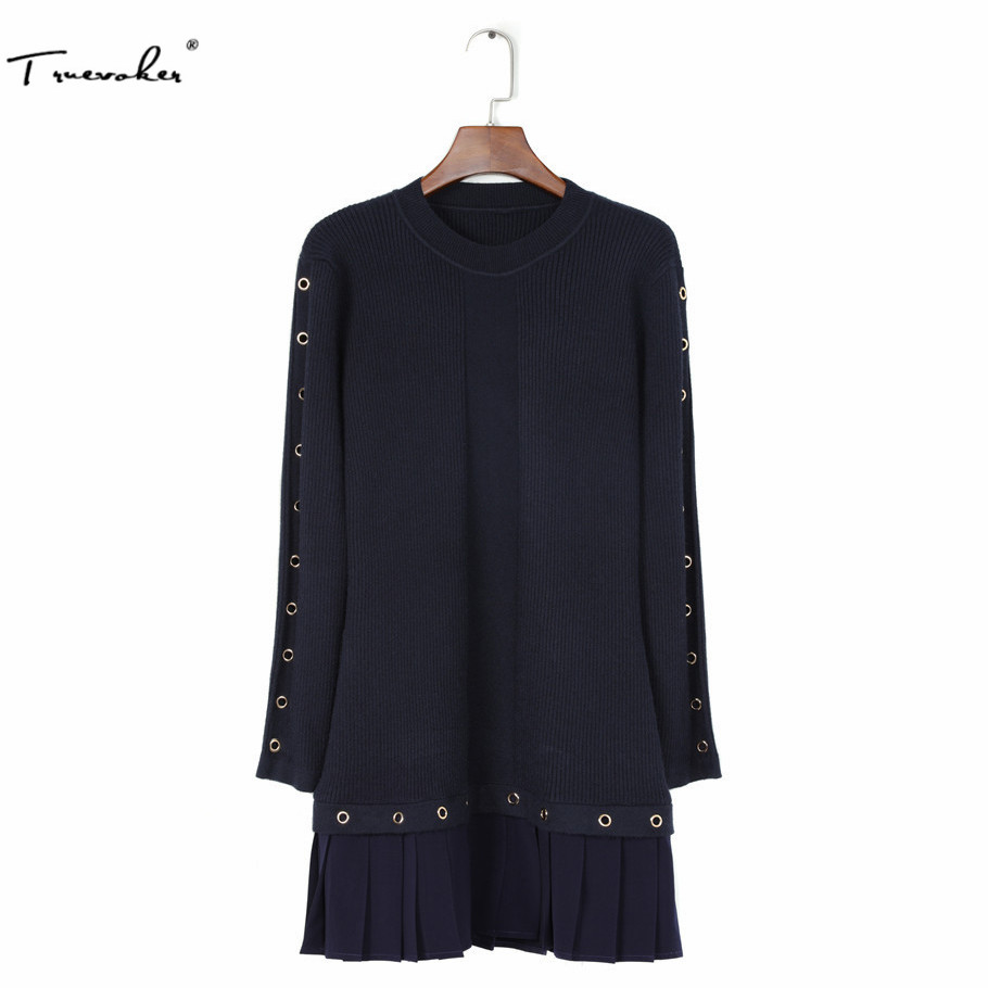 Truevoker Designer Sweater Dress Womens High Quality Long Sleeve Dark Blue Knitting Rivet Pleated Vestidos