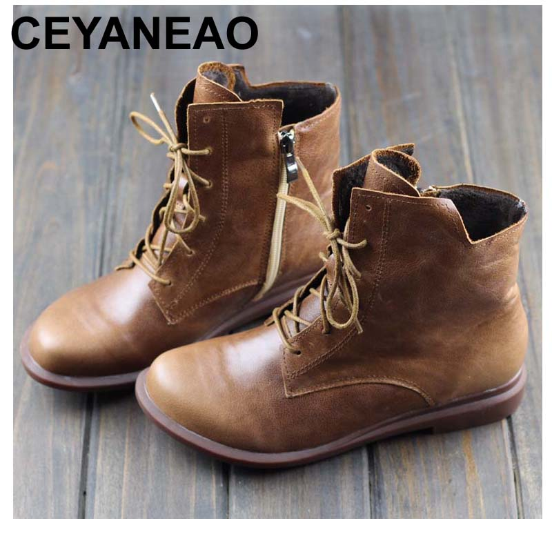 CEYANEAO Women Winter Boots 100 Authentic Leather Ladies Ankle Boots Plush Warm Shoes Female Winter Footwear