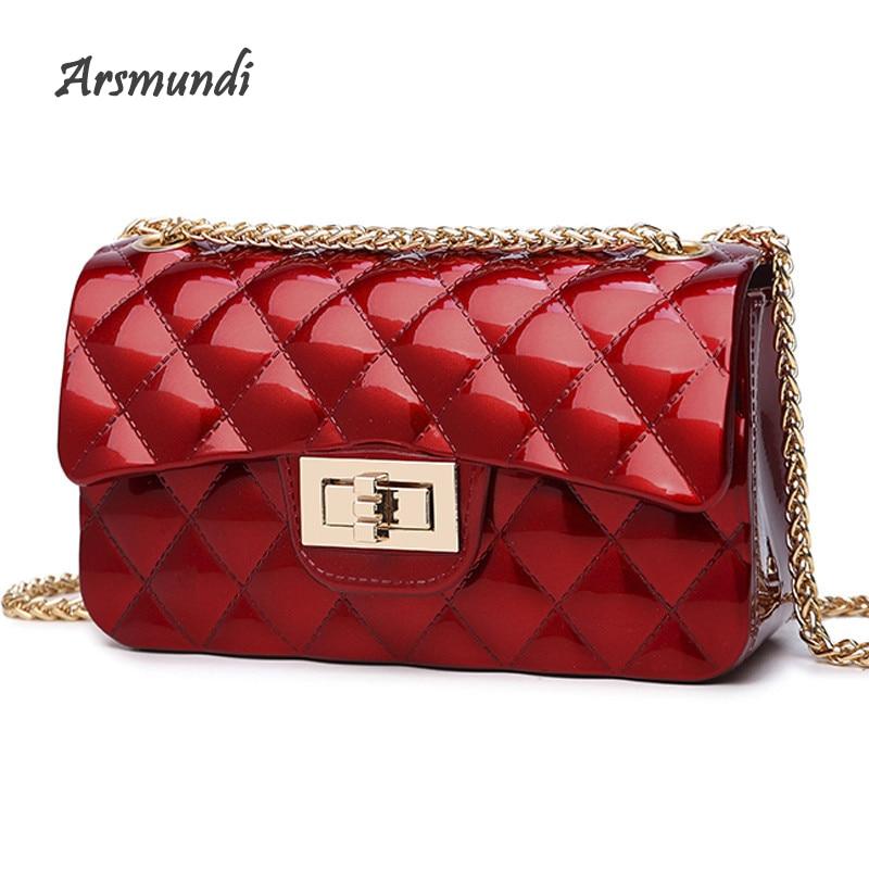 Arsmundi Women Bag 2018 Summer New Rhombic Chain Shoulder Bag Jelly Small Handbag Fragrance Wind Mini Shoulder Messenger Bag