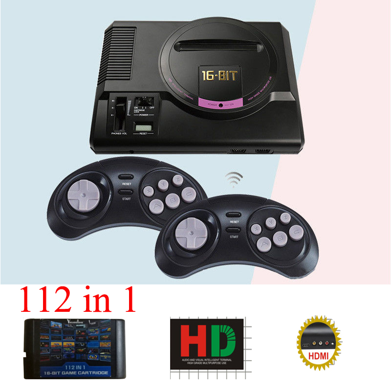 Hot HDMI Video Game Console SEGA MEGADRIVE 1 Genesis 112in1 free games High definition HDMI TV Out with 2.4G wireless controller hot hdmi 16 bit video game console sega mega drive 1 genesis high definition hdmi tv out with 2 4g wireless controlle cartridge