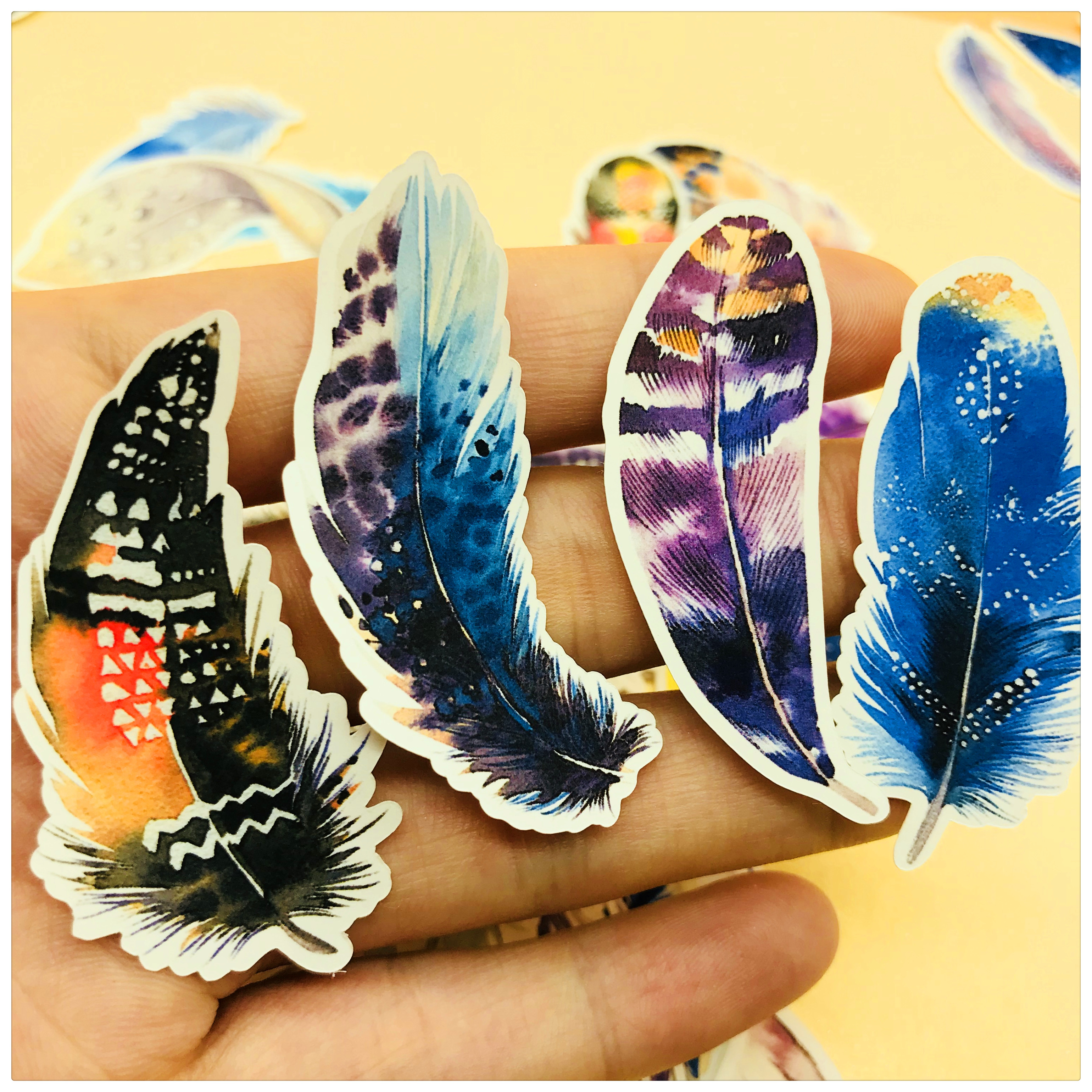44pcs Magical And Romantic Feather Decoration Stationery Sticker Diy Diary Scrapbooking Label Sticker Stationery