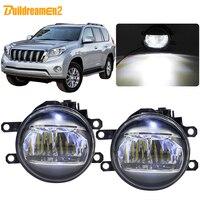 Buildreamen2 For Toyota Land Cruiser Prado J150 2009 2013 Car 4000LM LED Fog Light Daytime Running Light DRL White 12V