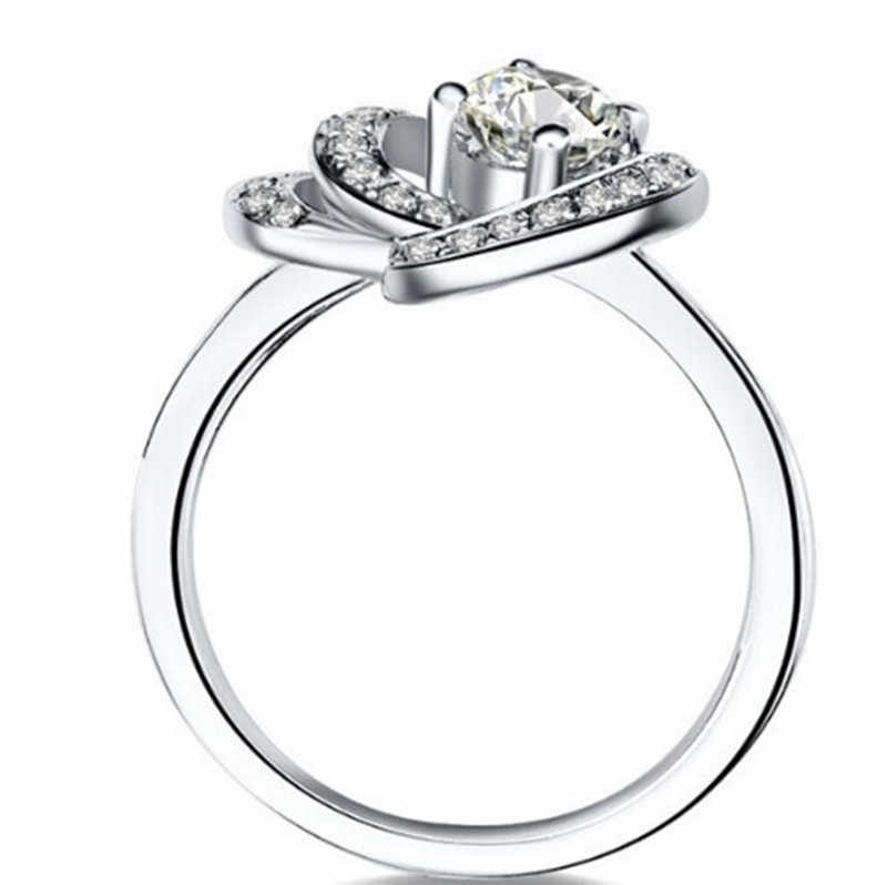 2015 Mới Thiết Kế Tim Phong Cách 0.5CT SONA Simulate Diamond Ring Set Engagement Bạc Đồ Trang Sức; Tùy Rắn 18 K Trắng vàng