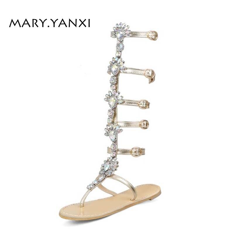 Women Plus Size Shose Gladiator Sandals Boots Rhinestone Crystal Bling Fashion Casual Flat Flats Heels Buckle Strap Back Strap